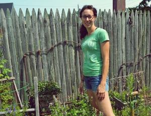 me standing in herb garden