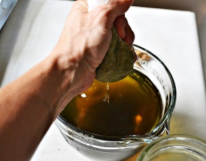 Straining herbal tincture